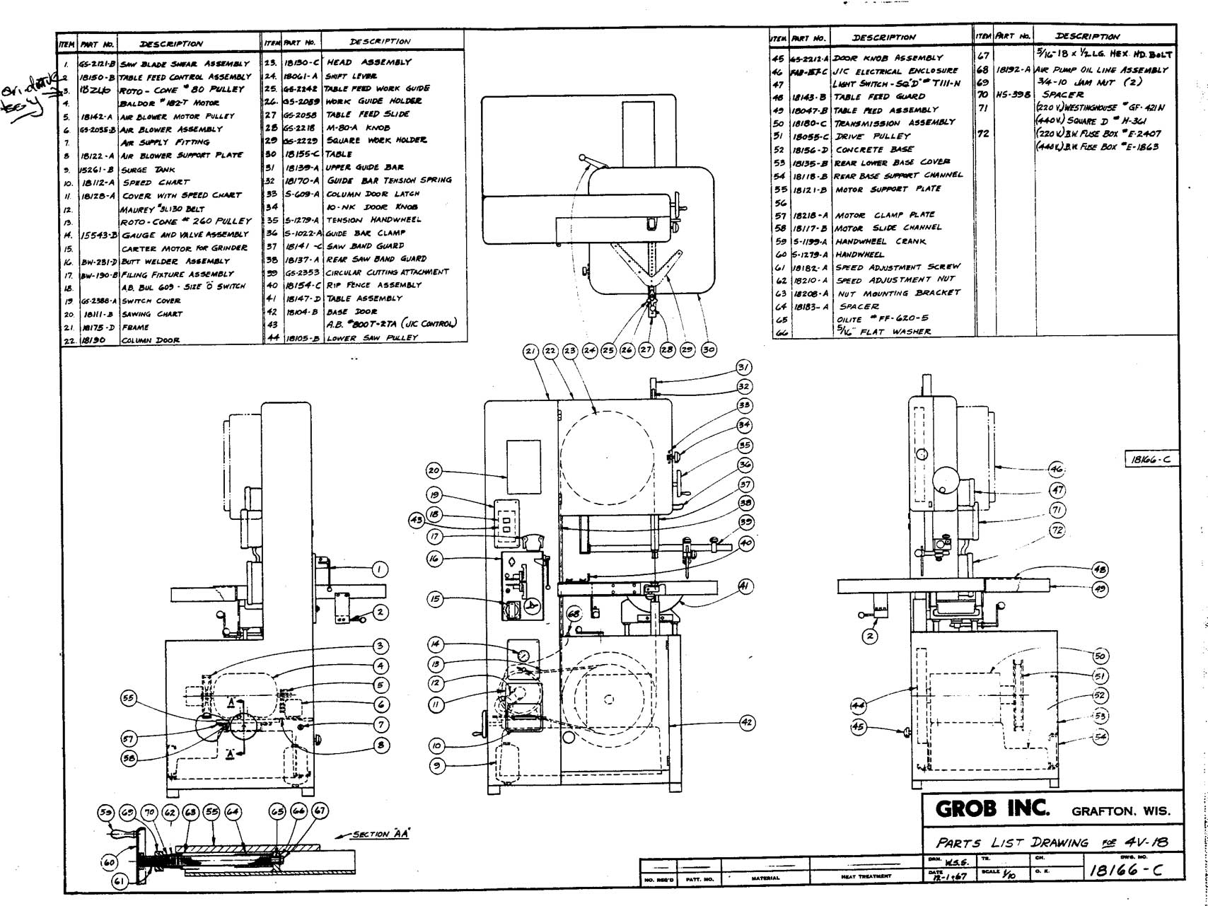 Main Parts 4V18 manual machine and accessories parts lists machine parts diagram at gsmx.co