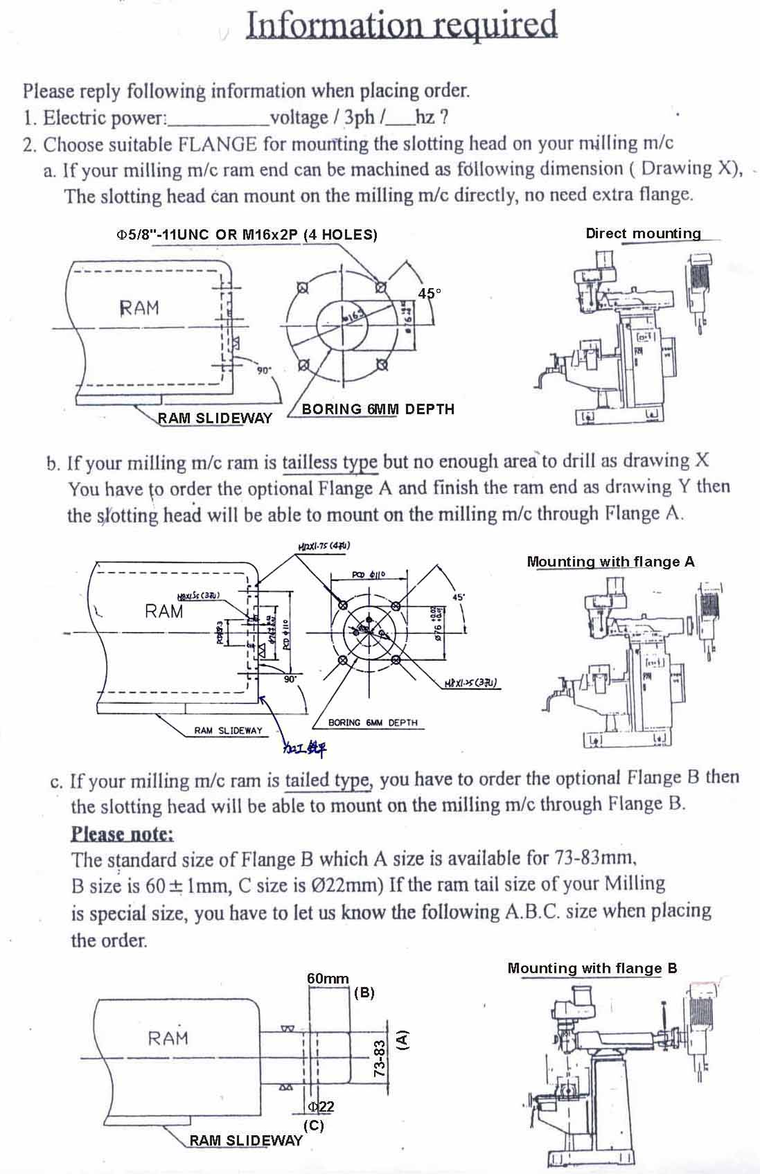 drawings for mill flanges for the Tarng slotting head
