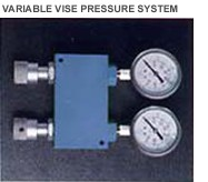 vise pressure control valves on Mega twin column saws